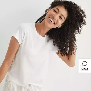 NWOT AERIE White Cropped Short Sleeve T-shirt